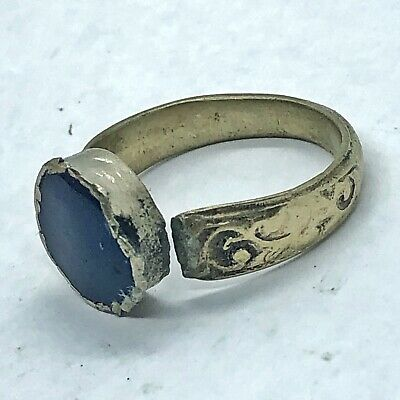 Post Medieval Islamic Ring Middle Eastern Blue Stone Antique Old Jewelry Damaged