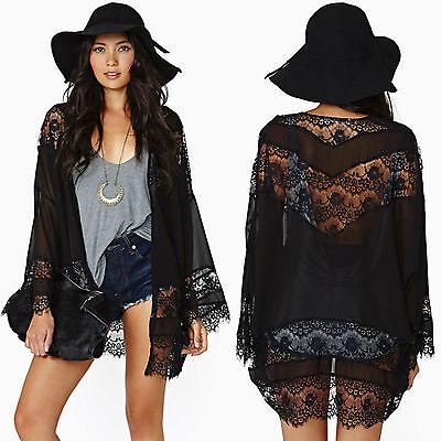 Mesh Kimono - Womens Chiffon Lace Kimono Cardigan Loose Mesh Shawl Blouse Top Beach Cover Up