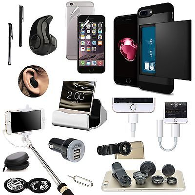 Case+Bluetooth Earphones+Monopod+Fish Eye Accessory Bundle For iPhone 7 Plus