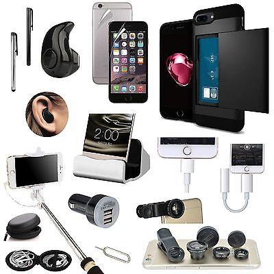 Case+Bluetooth Earphones+Monopod+Fish Eye Accessory Bundle For iPhone 7 Plus