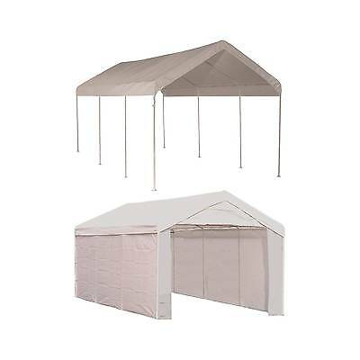 """Shelter Logic 10x20 Canopy 1 3/8"""" 8-Leg Frame Cover with Enclosure Kit"""