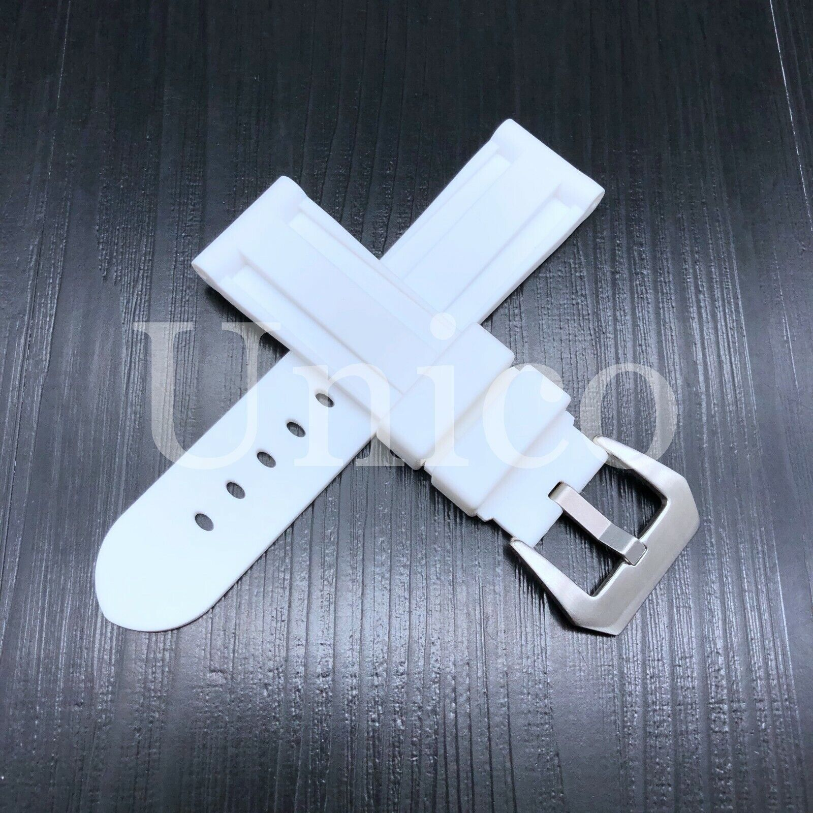 22 MM White Rubber Silicone Strap Band Soft Vintage Replacem