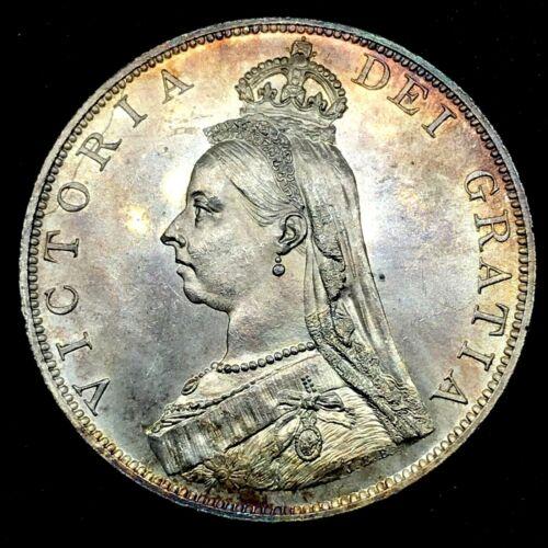 1887 Great Britain Silver Double Florin Roman I Outstanding Color BU Coin KM#763