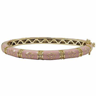 Enamel Childrens Bangle (Pink Enamel Flowers Gold Plated Kids Bangle Bracelet 50mm )