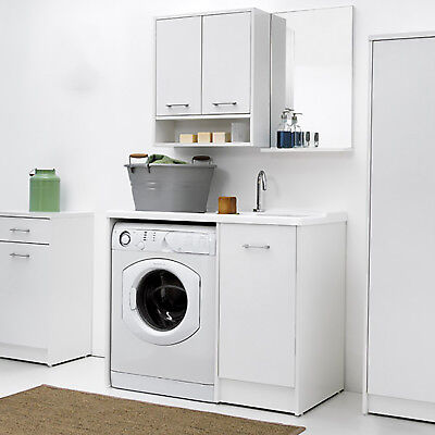 Lavatoio coprilavatrice Domestica tela bianco con vasca DX tavala lavapanni