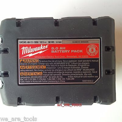 Milwaukee M18 48-59-1850 Starter Kit 48-11-1850 5.0 AH Battery & Charger 18 Volt 8