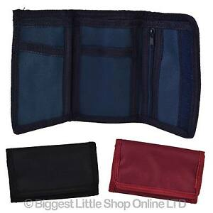 NEW-Mens-Boys-Girls-Plain-CANVAS-Tri-Fold-Velcro-WALLET-Black-Red-Navy-Handy