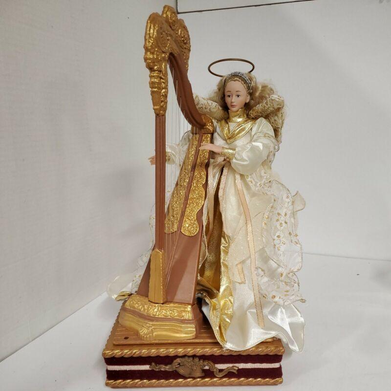 Vintage Holiday Creations 1995 Animated Angel with Harp Musical Christmas Decor