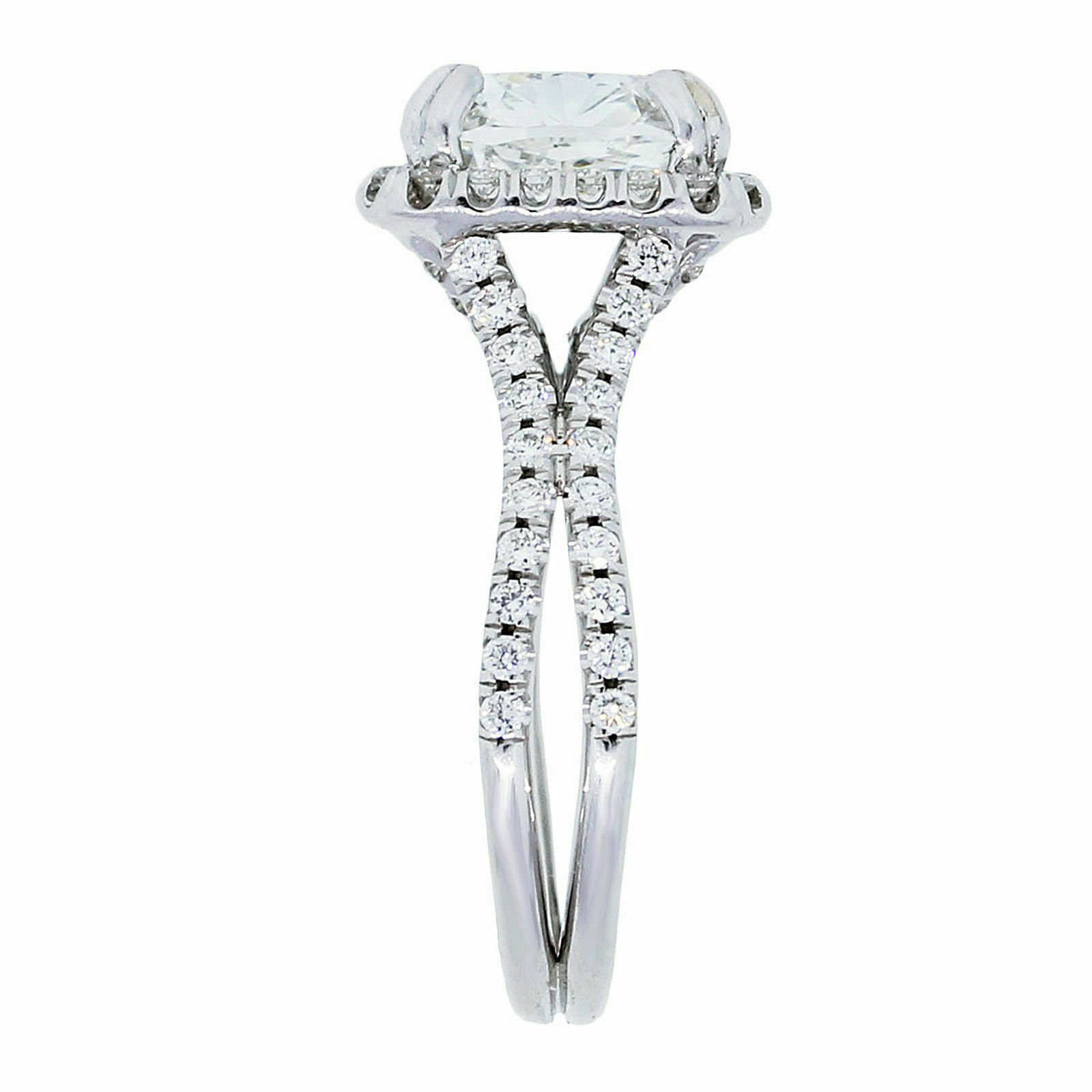 GIA Certified Diamond Engagement Ring Cushion Cut 14k White Gold 2.18 carat 2