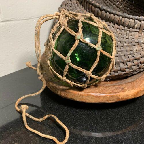 "Emerald Green Hand-Blown Glass 5"" Fishing Float w/ Tied Rope Net - European"