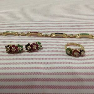 Vermeil real ruby, emerald and sapphire and white topaz set