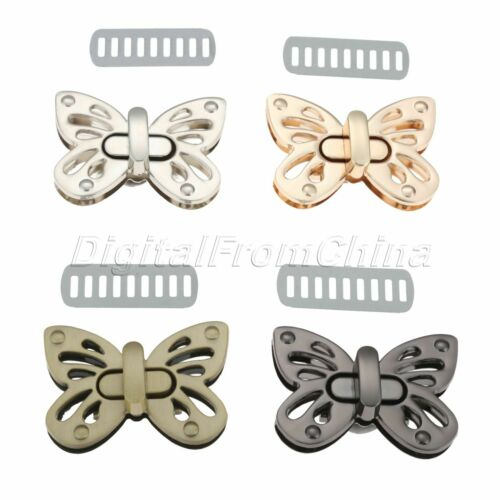 1Set Women Butterfly Metal Clasp Turn Twist Lock For Handbag Shoulder Bag Purse