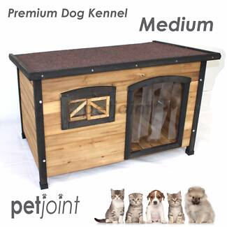 Flat Roof Medium Pet Kennel Window & Curtains Cat Dog Puppy House