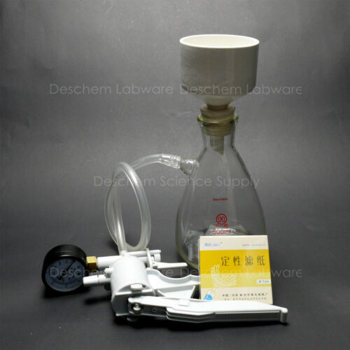 500ml,Filtration Buchner Funnel Kit,Suction Flask,Handle Vacuum Pump,Filter Pape