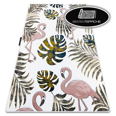 Modern Coloured Carpet Petite Flamingos Monstera Cream for Kids Best
