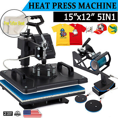 5 In 1 Heat Press Machine 12x15 Swing Away Transfer Sublimation T-shirt Mug Hat