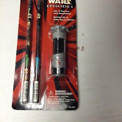Star Wars Episode I Set of 2 Pencils and 1 Sharpener No 16202 Pentech 1999 New