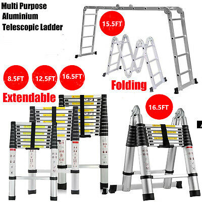 8.5-16.5ft Telescopic Extension Ladder Aluminum Multi Purpose Folding Non-slip