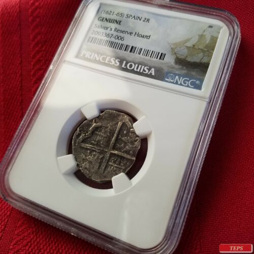 NGC Shipwreck Certified (1621-65) Princess Louisa King Philip IV 2R Silver Coin