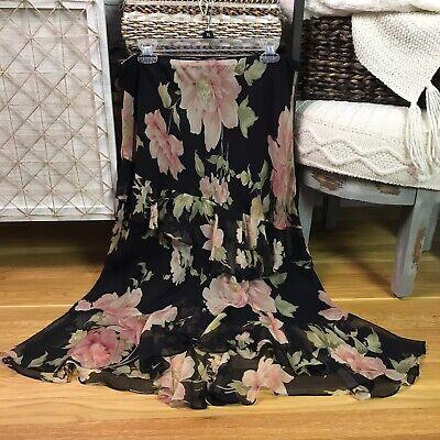Ralph Lauren Black Floral Ruffle Boho Boutique 100% Silk Long Skirt Womens 16 XL Long Black Floral Skirt