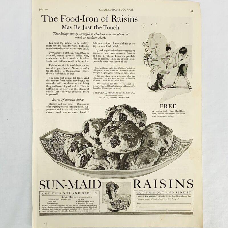 """Vintage 1921 Sun Maid Raisins Print Ad Raisin Biscuit Recipe 13"""" x 9 3/4"""""""
