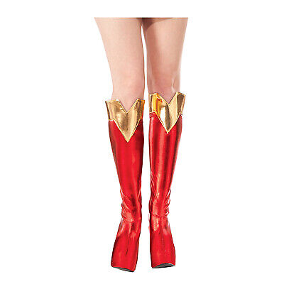 Gold Costume Boots (DC Comics Superman SUPERGIRL BOOT TOPS Shoe Covers Adult Costume Red)
