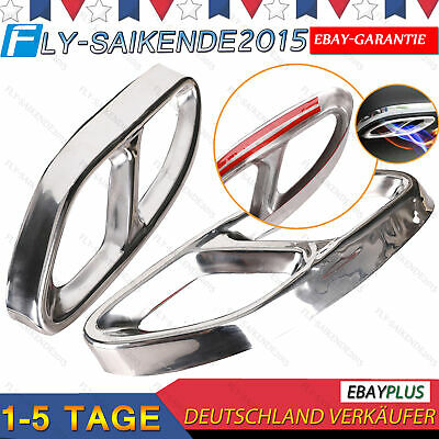 Top Hochglanz Silber Links+Rechts Auspuffblende Auspuff Abdeckung Für Mercedes