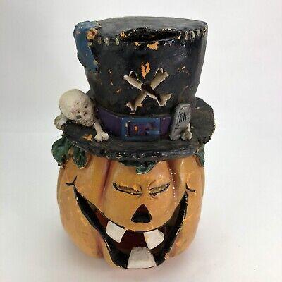 "Vintage Halloween Pumpkin Witch Hat Skeleton Blow Mold / Lights Up 12"" Tall"