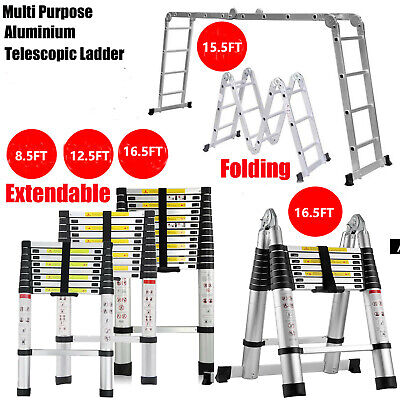 8.5-16.5ft Aluminum Folding Telescopic Extension Ladder Heavy Multi Purpose Step