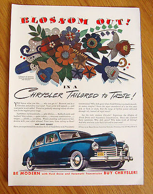 1941 Chrysler Ad Blossom Out! in a Tailored to Taste  Upholstery