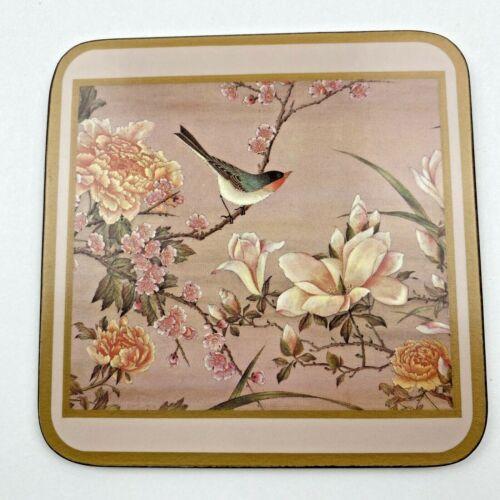 Vintage Pimpernel Traditional  Coasters Set Of 6 Cork Back Birds Flowers Spring