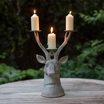 Stag Head Large Tea Light Lantern Holder Candle Style Antique Vintage Metal