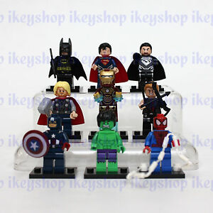 Lot of 9pcs Building Toys Mini Figures Marvel Ironman Super Hero Batman No Box