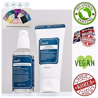 Klairs Rich Moist Soothing Serum & Soothing Cream Set + Free Sample - UK Seller