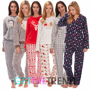 femmes polaire pyjama ensemble chaud hiver carreaux pjs nuit haut costume ebay. Black Bedroom Furniture Sets. Home Design Ideas