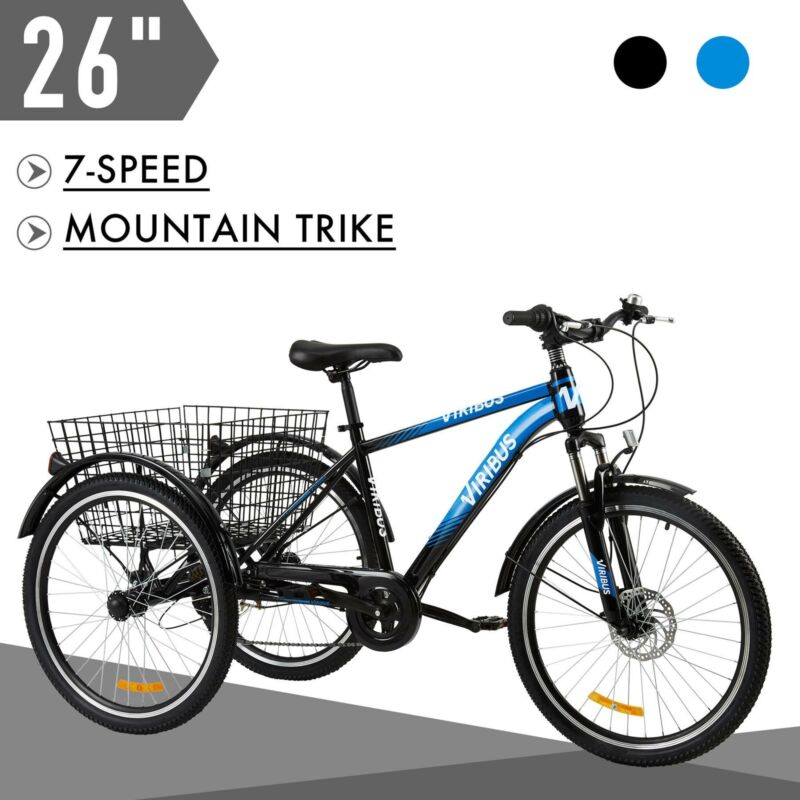 """26"""" 7-Speed Adult Tricycle Three-Wheel Mountain Trike w Bask"""