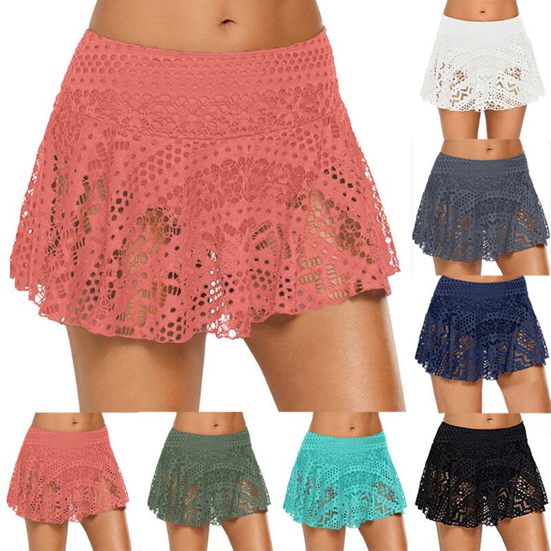 Damen Badehose Boardshorts Baderock Badeshorts Liniert Bikini Hotpants Neu 34-42