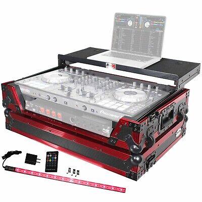 ProX Pioneer DDJ-SX2, SX3, RX Controller Case w/Laptop Shelf & LED, Black & Red