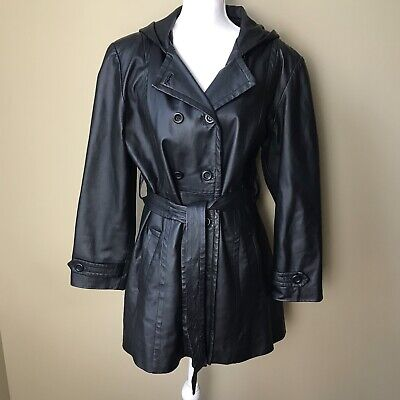 Giorgio Sant Angelo Womens Black Leather Double Breasted Jacket Size L