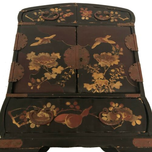 Antique Japanese/Chinoiserie   Lacquer Jewelry Compartment Mini Chest/Box