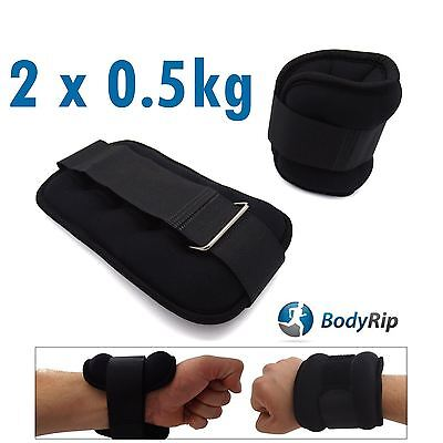 BodyRip 2 x 0.5Kg Leg Ankle Hand Wrist Weights Wraps Straps Bandage Gym Workout