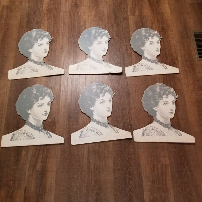 Group of 6 Vintage Face Clothes Hanger Cover Attach Hanger to Back  Paper USED
