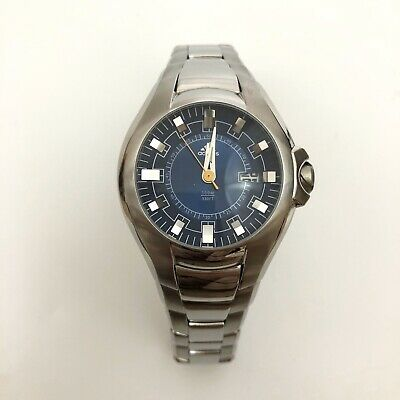 adidas Watch Men's Agassi Stainless Steel Band Blue Face Date NEEDS BATTERY
