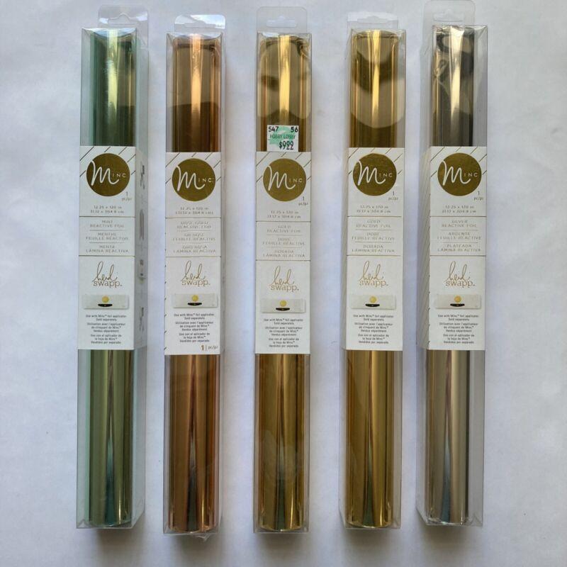 Minc Heidi Swapp Mint Rose Gold Silver Reactive Foil 12.25 x 12 Metallic Rolls 5