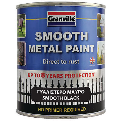 GRANVILLE Smooth BLACK Metal Paint No Primer Required - Direct To Rust 750ml