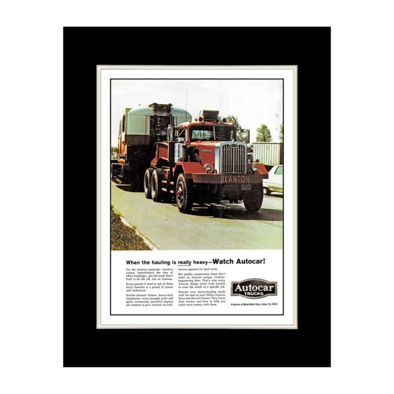 1968 Autocar Tractor-Trailer Truck Ad Reprint - Matted for 11x14 Frame