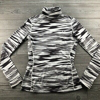 Womens Under Armour Cold Gear  Turtle Neck Fitted white Gray Blend Large Top
