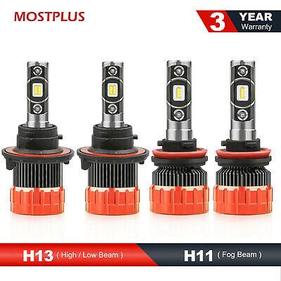 MOSTPLUS Combo LED Headlight Set Hi/Lo H13 with Fog Light H11 H8 H9 Bulbs 6000K Combo Light Set