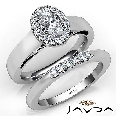 0.93ctw Bridal Halo Pave Filigree Oval Diamond Engagement Ring GIA E-VS1 W Gold