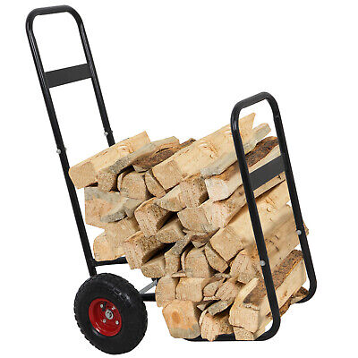 Firewood Log Cart Carrier Dolly Trolley Wood Mover Hauler Rack Outdoor -